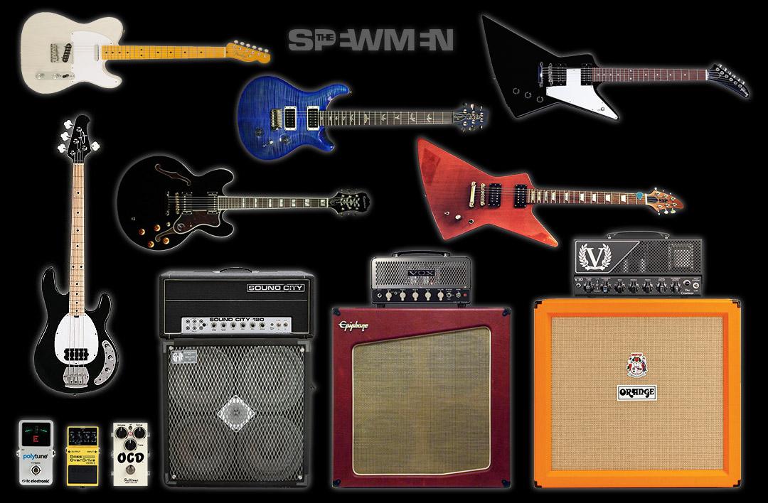 Guitares, amplis, enceintes, et pédales des SPEWMEN en studio.